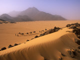 Tenere Desert, Camel Caravan Travelling Through the Air Mountains and Tenere Desert, Niger Fotografisk tryk af Paul Harris