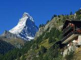 Colourful Mountain Chalet in the Shadow of the Matterhorn, Zermatt, Valais, Switzerland Photographic Print by Christian Kober