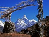 Amma Dablam, Framed by Prayer Flags, One of Most Distinctive Mountains Lining Khumbu Valley, Nepal Photographic Print by Fergus Kennedy