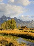 Historic Barn, Mormon Row and Teton Mountain Range, Grand Teton National Park, Wyoming, USA Fotografisk tryk af Michele Falzone