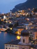 Lombardy, Lake District, Lake Garda, Limone Sul Garda, Aerial Town View, Italy Fotografisk tryk af Walter Bibikow