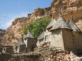 Dogon Country, Tereli, Granaries at Tereli - a Typical Dogon Village at the Base of the Bandiagara  Fotografisk trykk av Nigel Pavitt