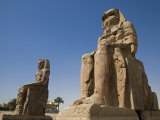 Colossi of Memnon Stand at Entrance to the Ancient Theban Necropolis on West Bank of Nile at Luxor Photographic Print by Julian Love