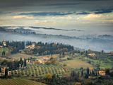 Traditional Buildings in San Quirico, Valle De Orcia, Tuscany, Italy Reproduction photographique par Nadia Isakova