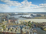 London, Canary Wharf, London Skyline Towards Poplar Wharf and Marina, O2 Arena,, England Fotoprint av Jane Sweeney