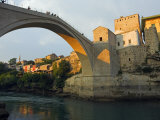 Balkans Bosnia Mostar Late Afternoon Light on Stari Most Peace Bridge Photographic Print by Christian Kober