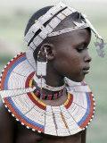 White Beadwork and Circular Scar on Cheek of This Maasai Girl, from the Kisongo Group Lámina fotográfica por Nigel Pavitt