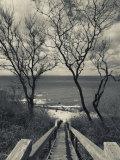 New York, Long Island, Cutchogue, Horton Point Lighthouse Stairs and Long Island Sound, USA Fotoprint van Walter Bibikow