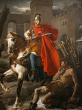 Painting of St. Martin Sharing His Coat, St. Gatien Cathedral, Tours, Indre-Et-Loire Photographic Print by  Godong
