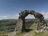Ruins of Dinas Bran Castle and Village of Llangollen Below, Denbighshire Photographic Print by Richard Maschmeyer