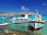Fishing Boats at Anopi Beach, Karpathos, Dodecanese, Greek Islands, Greece, Europe Lámina fotográfica por Sakis Papadopoulos