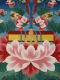 Painting of Lotus Flower, Sword of Knowledge and Sacred Text, Kopan Monastery, Kathmandu Fotografisk tryk af  Godong