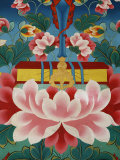 Painting of Lotus Flower, Sword of Knowledge and Sacred Text, Kopan Monastery, Kathmandu Fotografie-Druck von  Godong