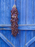 Red Chilli Peppers on Barn Door, New Mexico, United States of America, North America Reproduction photographique par Michael DeFreitas