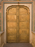 Close Up of the Ornate Door at the Peacock Gate in the City Palace, Jaipur, Rajasthan Reproduction photographique par John Woodworth