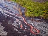 Lava Flowing from Kilauea Volcano, Hawaii Volcanoes National Park, the Big Island, Hawaii Photographic Print by Michael DeFreitas