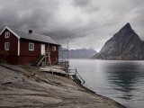 Rorbuer on Fjord with Mountains, Lofoten Islands, Norway, Scandinavia, Europe Photographic Print by  Purcell-Holmes
