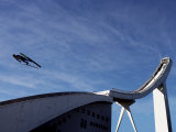 Ski Jumper, Blue Sky and Ski Jump, Oslo, Norway, Scandinavia, Europe Photographic Print by  Purcell-Holmes