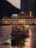 Ferry Sailing Towards Jumbo Floating Restaurant at Dusk, Aberdeen Harbour, Hong Kong, China, Asia Photographic Print by  Purcell-Holmes