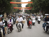 Mopeds Coming Towards Camera, Hanoi, Vietnam, Indochina, Southeast Asia, Asia Photographic Print by  Purcell-Holmes