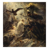 Shades of French Warriors Led into Odin's Palace by Victory, 1802 Giclée-tryk af Anne-Louis Girodet de Roussy-Trioson