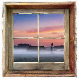Farmyard Sunrise Viewed Through an Old Window Frame