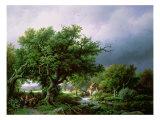 Landscape with a Mill Giclee-trykk av Barend Cornelis Koekkoek