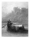 Body of Elaine on Way to King Arthur's Palace, Illustration, 'Idylls of King' by Alfred Tennyson Giclee-trykk av Gustave Doré