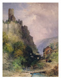 The Castle of Katz on the Rhine Giclee Print by William Callow