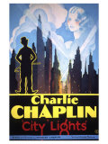 Filmposter Charly Chaplin, City Lights, 1931 Premium gicléedruk