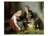 Feeding the Rabbits Giclee Print by Felix Schlesinger