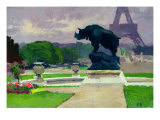 The Trocadero Gardens and the Rhinoceros by Jacquemart Giclee Print by Jules Ernest Renoux