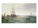 Portsmouth Harbour: HMS 'Victory' among the Hulks, 1892 Giclee Print by Robert Ernest Roe