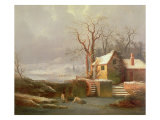 Snow Scene with Mill and Cottages Giclee Print by George Smith