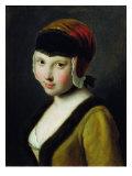 A Girl with a Black Mask Giclée-tryk af Pietro Antonio Rotari