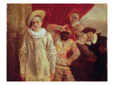 Harlequin, Pierrot and Scapin, Actors from the Commedia dell'Arte Giclée-tryk af Jean Antoine Watteau