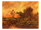 Wooded Landscape with a Faggot Gatherer Giclee Print by Pierre Etienne Theodore Rousseau
