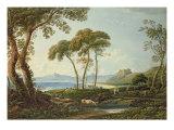 Landscape with Harlech Castle Giclée-Druck von John Varley