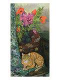 Bouquet et a Cat, 1919 Reproduction procédé giclée par Suzanne Valadon
