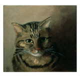 A Head Study of a Tabby Cat Reproduction procédé giclée par Louis Wain