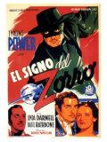 The Mark of Zorro, Spanish Movie Poster, 1940 Prints