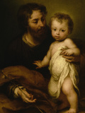 Saint Joseph with Jesus Lámina giclée por Bartolome Esteban Murillo