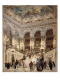 The Staircase of the New Opera of Paris Giclée-tryk af Louis Beroud