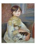 Portrait of Julie Manet or Little Girl with Cat Reproduction procédé giclée par Pierre-Auguste Renoir