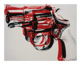 Gun, circa 1981-82, black and red on white Stampa giclée di Andy Warhol