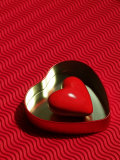 Heart Shaped Box Containing a Love Stone with Strong Red Background Photographic Print by Abdul Kadir Audah