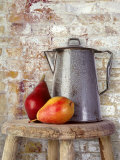 Still Life of Two Pears and a Coffee Pot Fotografie-Druck von Diane Miller