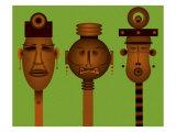 Men and Women Totem in African Masks Lámina giclée por Rich LaPenna