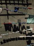 Laundry on Clotheslines Casts Shadows Outside a Housing Complex Fotografisk trykk av Lynn Johnson