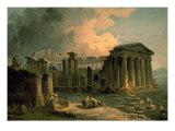 Ruins of a Doric Temple Reproduction giclée Premium par Hubert Robert